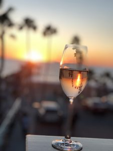 Glass of Wine with Beach views