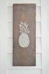 DIY Pineapple art on barnwood